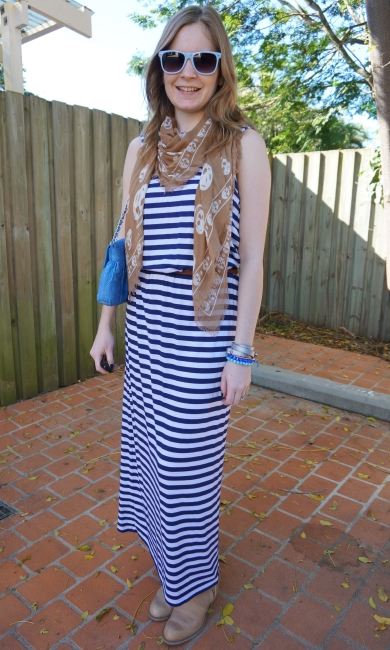 Away from Blue Australian Fashion blog belted striped maxi dress with scarf and pistol boots