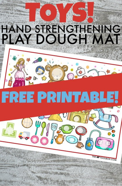 You will love this Free Play Dough Mat with a Toy Theme to build fine motor skills!