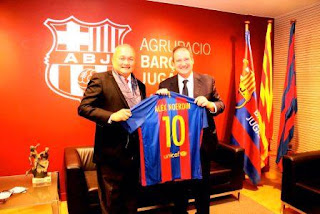 Presiden SFC Jalin Kerjasama Akademi Sepakbola Dengan Presiden Barcelona FC