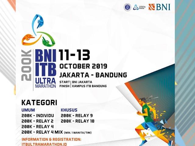 BNI-ITB Ultra Marathon, Kembali Digelar Rute Jakarta - Bandung Sejauh 200 km