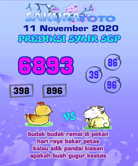 Prediksi Sakuratoto SGP Rabu 11 November 2020