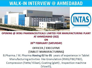 Walk-in Interview Job Opening For Officer / Executive in Intas Pharmaceuticals Limited For Manufacturing Plant At Ahmedabad