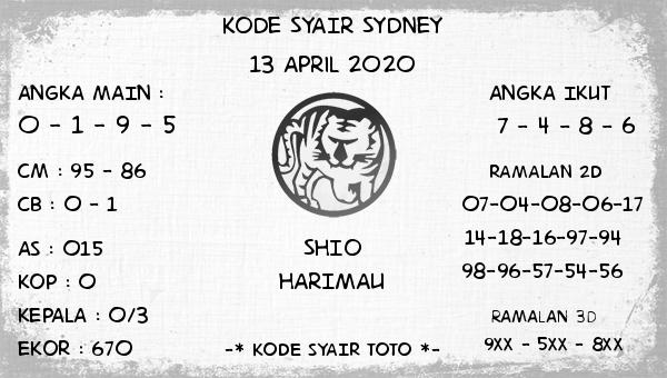 Prediksi Togel Sidney Senin 13 April 2020 - Kode Syair Sydney