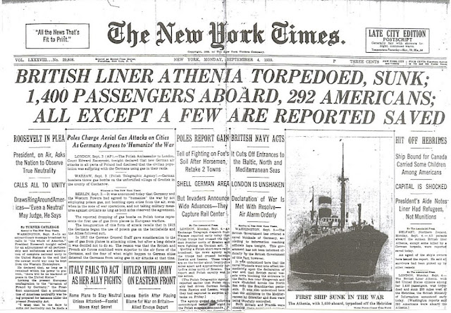 Resultado de imagen de athenia sunk 1939 newspapers