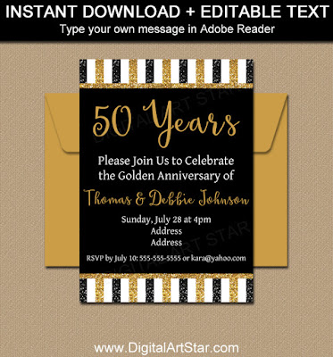 printable black and gold glitter invitation template for 50th anniversary