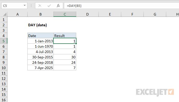 صيغ وشرح استخدام الدالة DAY في برنامج Microsoft Excel