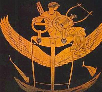 Ο Απόλλων αποχωρεί για την Υπερβορεία σε φτερωτό τρίποδα, (Αττική υδρία, Museo Gregoriano Etrusco, Vatican