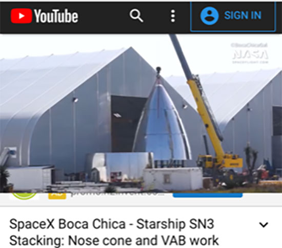Stacking of nose cone onto other sections of Starship SN3 (Source: @BocaChicaGal)