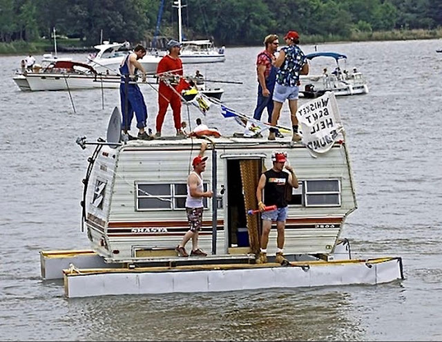 Redneck house boat, floating trailer. Celebrate While You Can. marchmatron.com