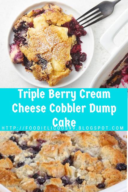 Vegetarian Triple Berry Cream Cheese Cobbler Dump Cake