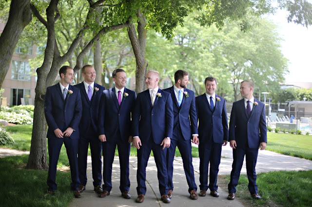 navy suits at Marina Inn Sioux CIty wedding