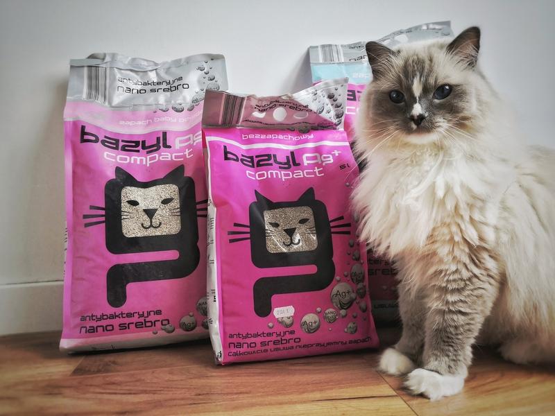 Bazyl Ag+ Compact, żwirek bazyl, żwirek dla kota, żwirek bentonitowy dla kota, żwirek ze srebrem dla kota, żwirek nano srebro, bazyl compact, kot testuje, koci blog