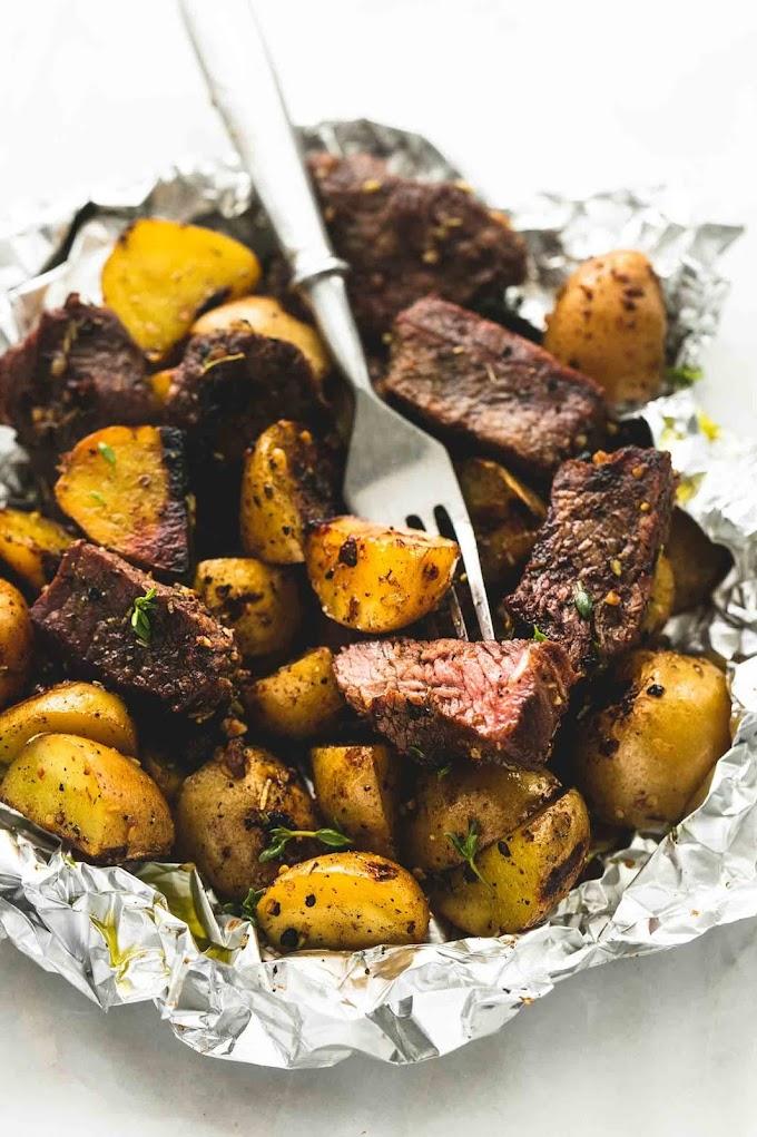 ★★★★★   Garlic Steak and Potato Foil Packs