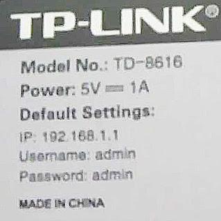Etiqueta clave de TP-Link TD-8616