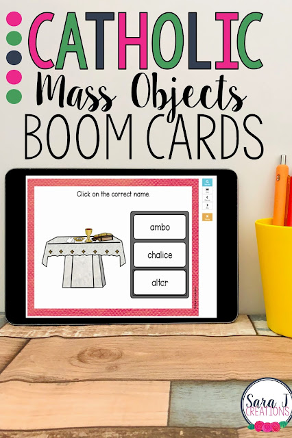 Teach your students the names of items commonly seen in the Catholic Mass with these Boom Cards! These fun, self correcting digital task cards turn learning and reviewing into a game. Great for Catholic schools, religious education classes, homeschool and more!