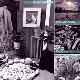 Collage of four photos. Photo on the left taken by @HalteWoman is a corner of a room with a screen, potted plants on stands, a small fountain on the floor surrounded by rocks arranged in a dry pond. Three stacked square photos on the right: top by @PegAndersen is a wooden fence in front of a snowy pasture with evergreen trees in the distance and a blue sky with a setting sun and clouds. Middle by @Frazkay is a charging station filled with Ford electric bikes. Bottom by @SueBloss is two hiking boot clad feet standing a top a dirt path.