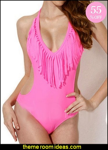 Tassel in Front Women's Swimwear Monokini
