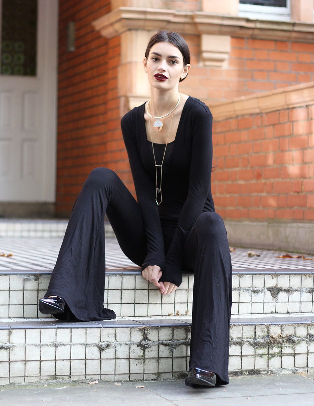 peexo fashion blogger wearing ASOS flared jumpsuit for halloween