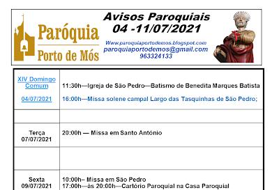 Avisos Paroquiais - 04-11 de Julho de 2021