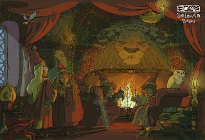 FANART BY SELENTO BOOKS  Sala común de Gryffindor Harry Potter (J.K. Rowling) Julio 2020