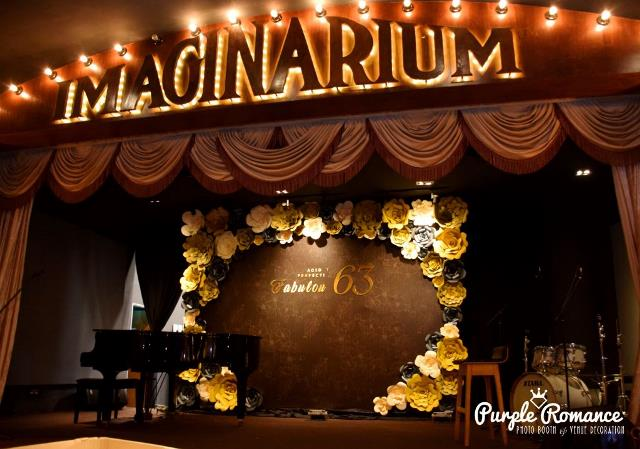 photo booth, instant print, elegant, giant paper flower backdrop, black and gold, event planning, wedding, save the date, imaginarium, backdrop malaysia, corporate, annual dinner