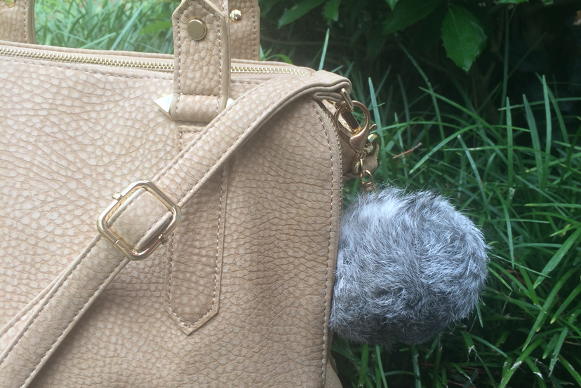 Tan Beige Satchel Handbag Gray furry Pom Pom keychain