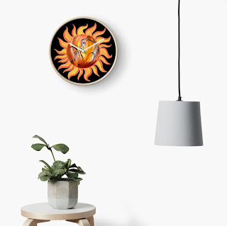 Watercolor Sun Paining by Irina Sztukowski on wall clock