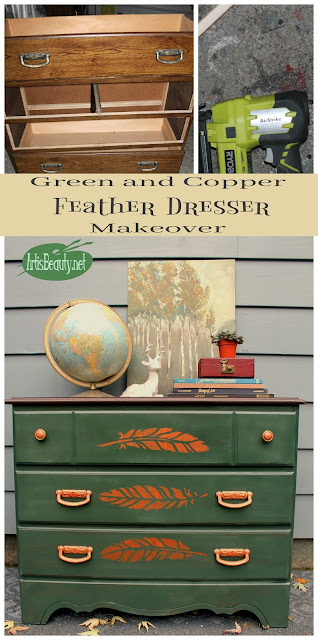 before and after broken dresser green painted copper finish feather makeover