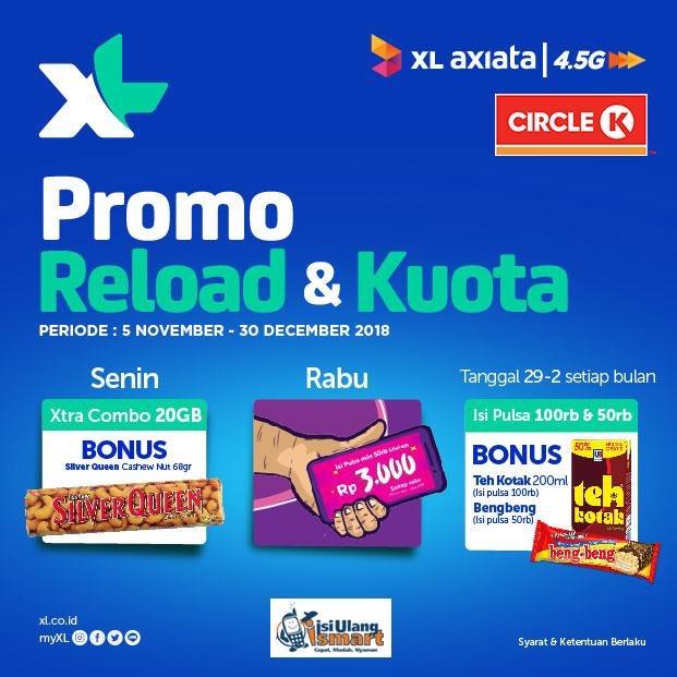 CircleK - Promo Reload & Kuota XL Dapat Bonus  (s.d 30 Des 2018)