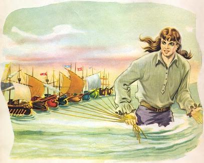 Gulliver redt de vloot van Lilliput