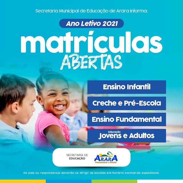 Secretaria de Educação de Arara informa que as martículas estão abertas para o ano letivo 2021
