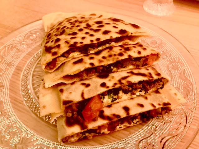 Turkish lamb gözleme or gozleme filled pancakes