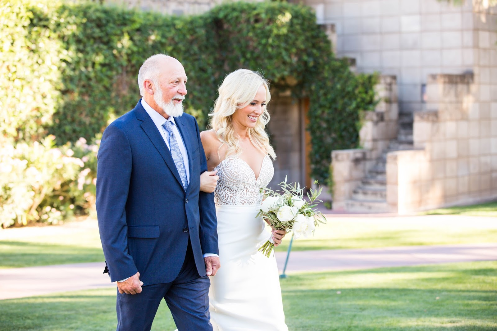 father and daughter walking down aisle arizona biltmore wedding ceremony