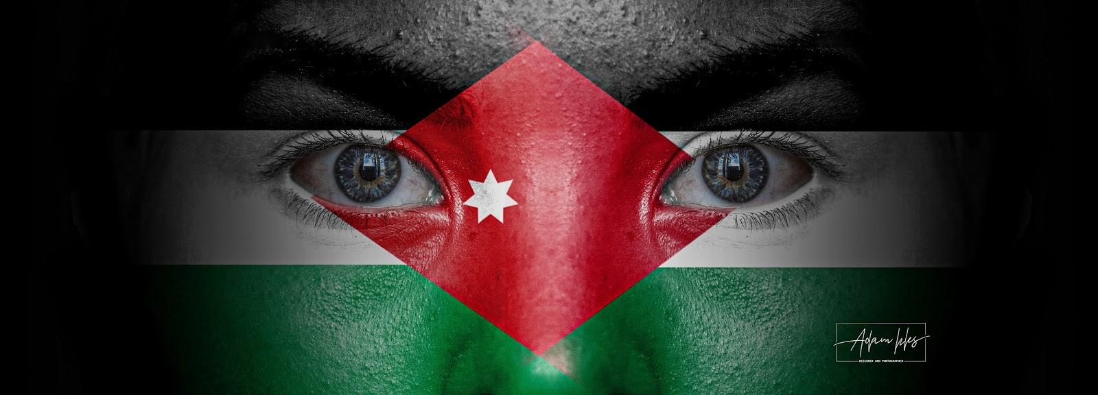 علم فلسطين وعلم الاردن معا