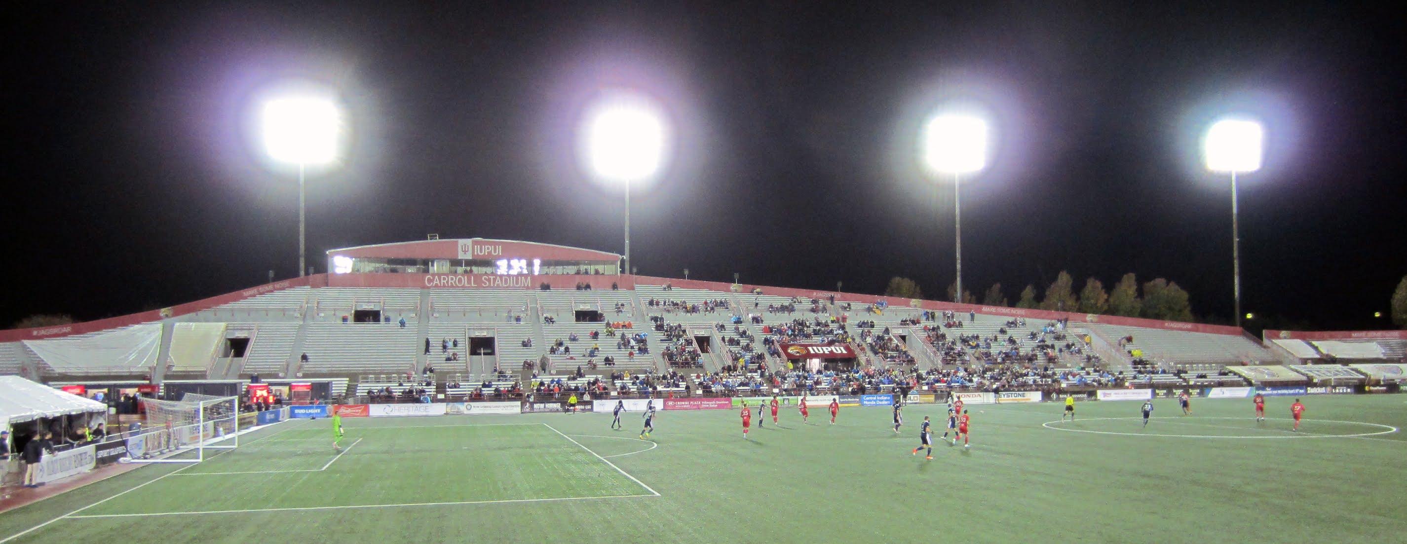 The main stand at Carroll Stadium, IUPUI