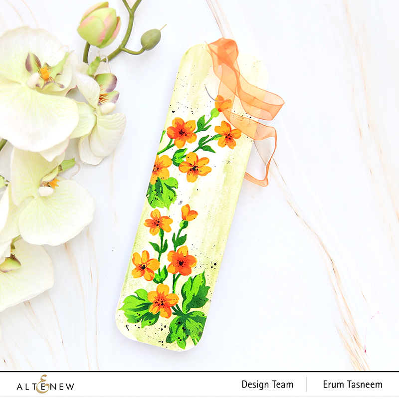 Altenew Hill Blossoms Layering Stencil Set (2 in 1) and Tall Tale Bookmark Die Set | Erum Tasneem | @pr0digy0