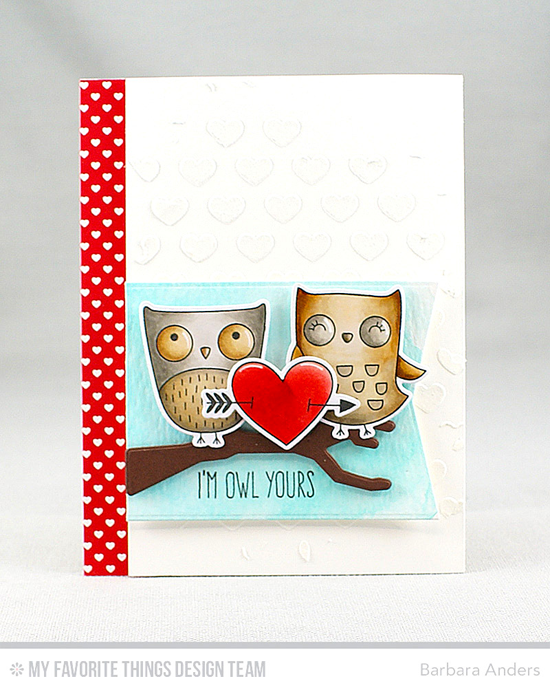 Handmade card from Barbara Anders featuring I'm Owl Yours stamp set and Die-namics, Blueprints 13 and Lisa Johnson Designs Spooky Sweets Die-namics, and Staggered Hearts stencil #mftstamps