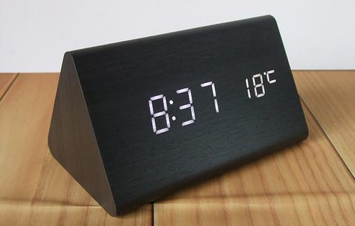 Đồng hồ gỗ để bàn Mini - Giờ : Phút - Nhiệt độ