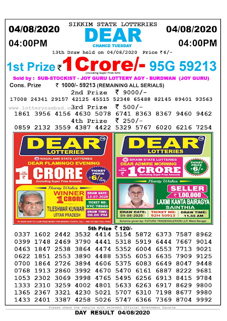 Lottery Sambad Result 04.08.2020 Dear Chance Tuesday 4:00 pm