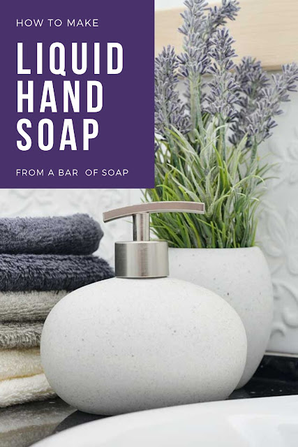 Learn how to make liquid hand soap from one bar of soap. Use castille soap or cold process soap to make your own DIY moisturizing recipe. Use a natural bar of soap for DIY natural homemade liquid soap. You can add an essential oil to your home made soap or make DIY thieves soap with that blend. Make a gallon of DIY liquid from 1 bar of soap! #essentialoil #handsoap #liquidsoap