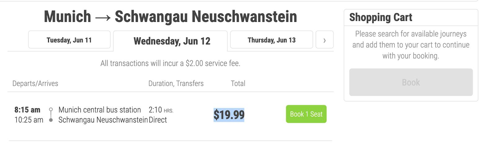 Neuschwanstein Castle itinerary