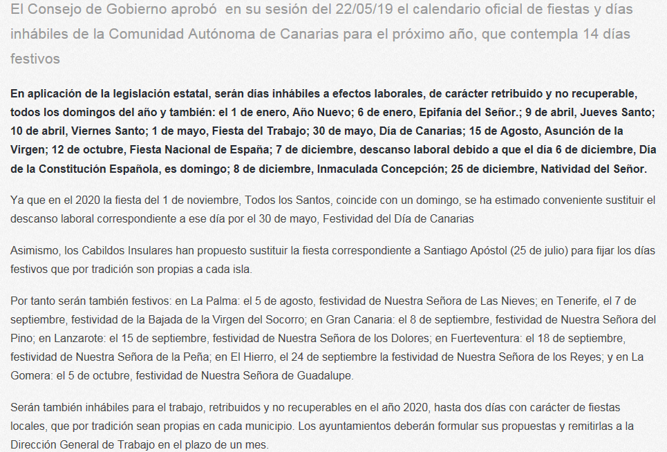 Calendario Laboral 2020.Staj Canarias El Gobierno Aprueba El Calendario Laboral
