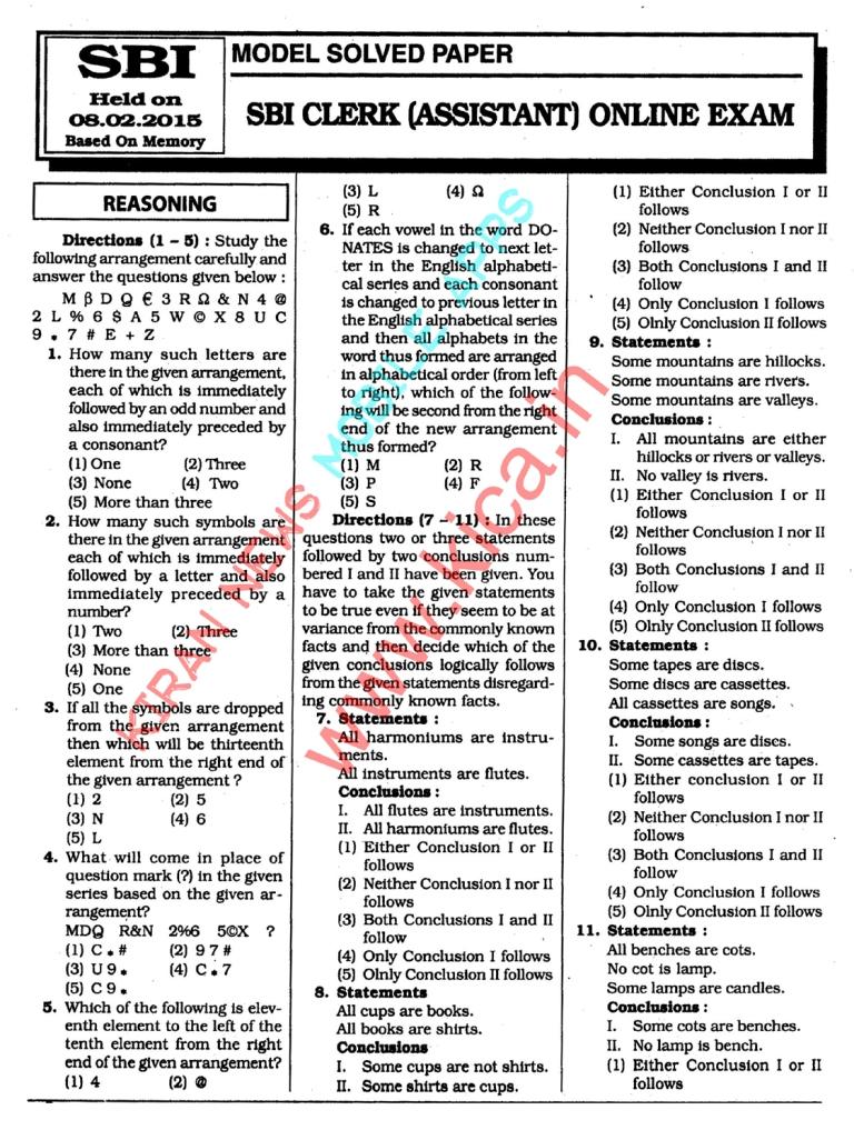 Sbi Clerk 2015 Paper Pdf