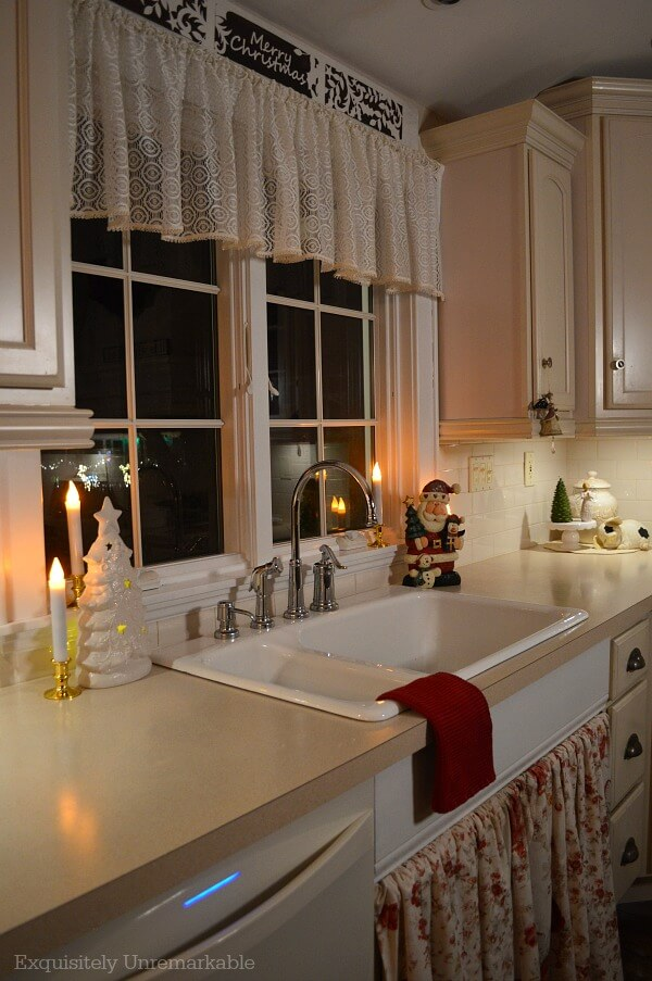 Christmas In The Kitchen With Candles On the Countertop