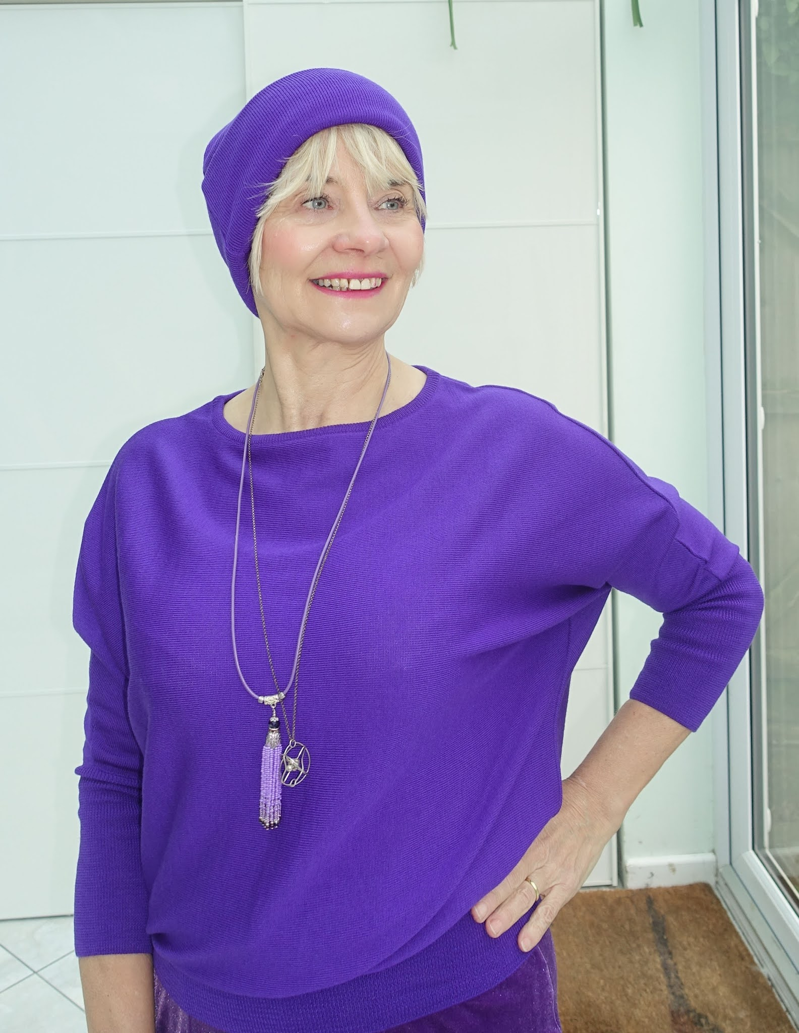 Is This Mutton blogger Gail Hanlon in purple beanie and sweater from Kettlewell Colours