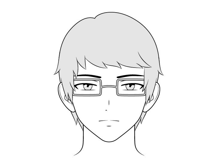 Gambar wajah pria intelektual anime