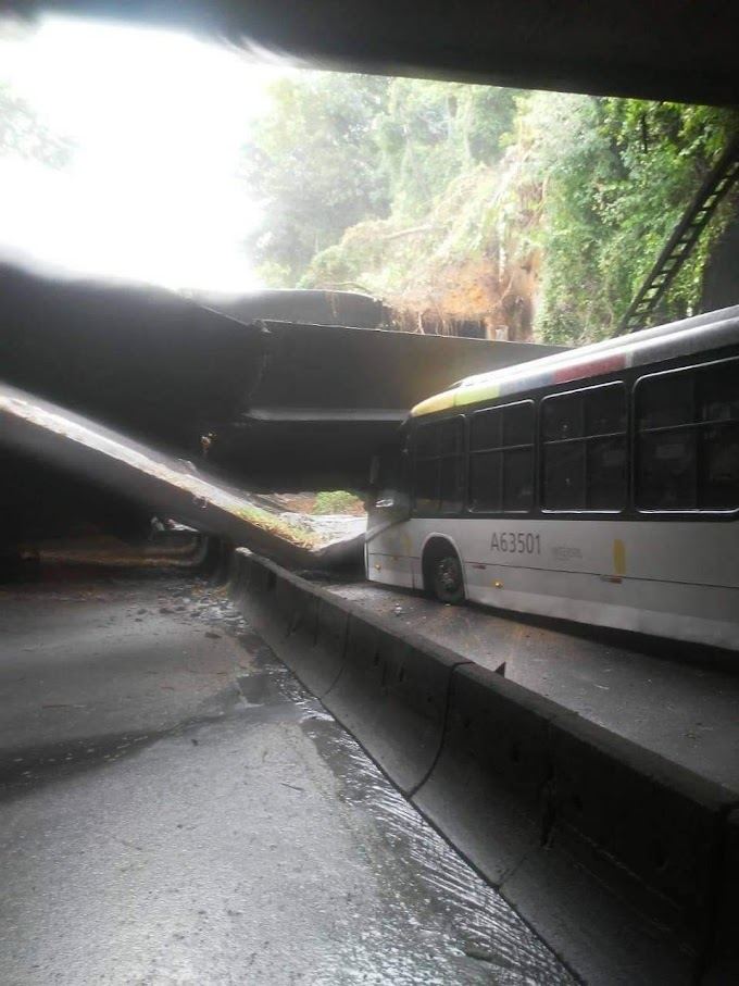 Teto de túnel desaba sobre ônibus na zona sul do Rio