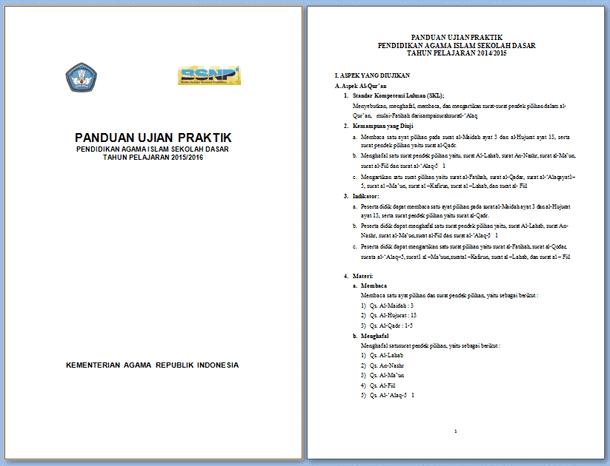 Panduan, Kisi-Kisi dan Naskah Ujian Praktik SD 2015-2016 Download File Format Microsoft Word