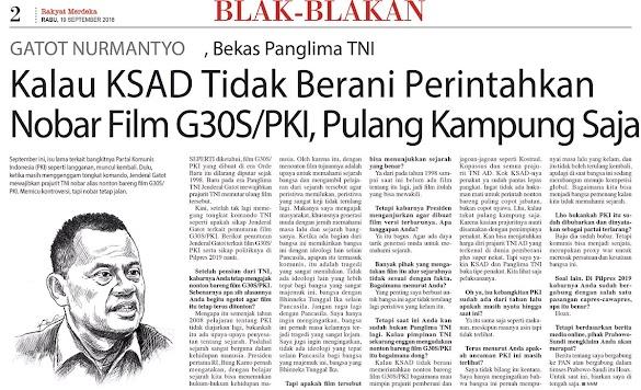 Gatot: KSAD Pulang Kampung Saja Kalau Takut Gelar Nobar G30S/PKI