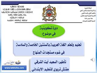 ديداكتيك اللغة العربية المستوى الخامس و السادس وفق المنهاج المنقح